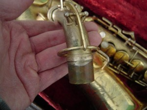 """Conn """"NM"""" stamp transitional alto neck detail, serial  234991, from eBay."""