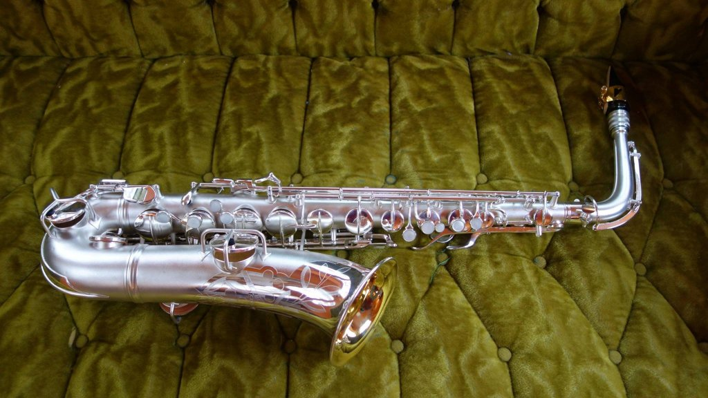 """Conn 8M C-Melody with """"Naked Lady"""" engraving, overhauled by me."""